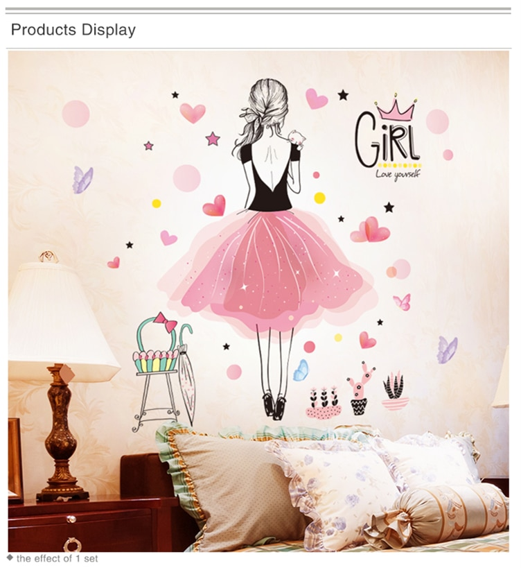 [shijuekongjian] Fairy Girl Wall Stickers DIY Dandelion Flowers Plant Mural Decals for Kids Rooms Baby Bedroom House Decoration