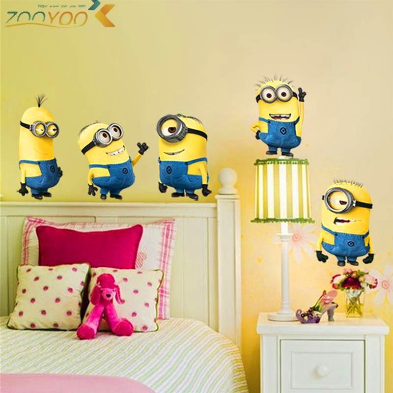 cute yellow man movie wall stickers for kids rooms home decor 3d cartoon wall decals art diy posters children's gift pvc mural