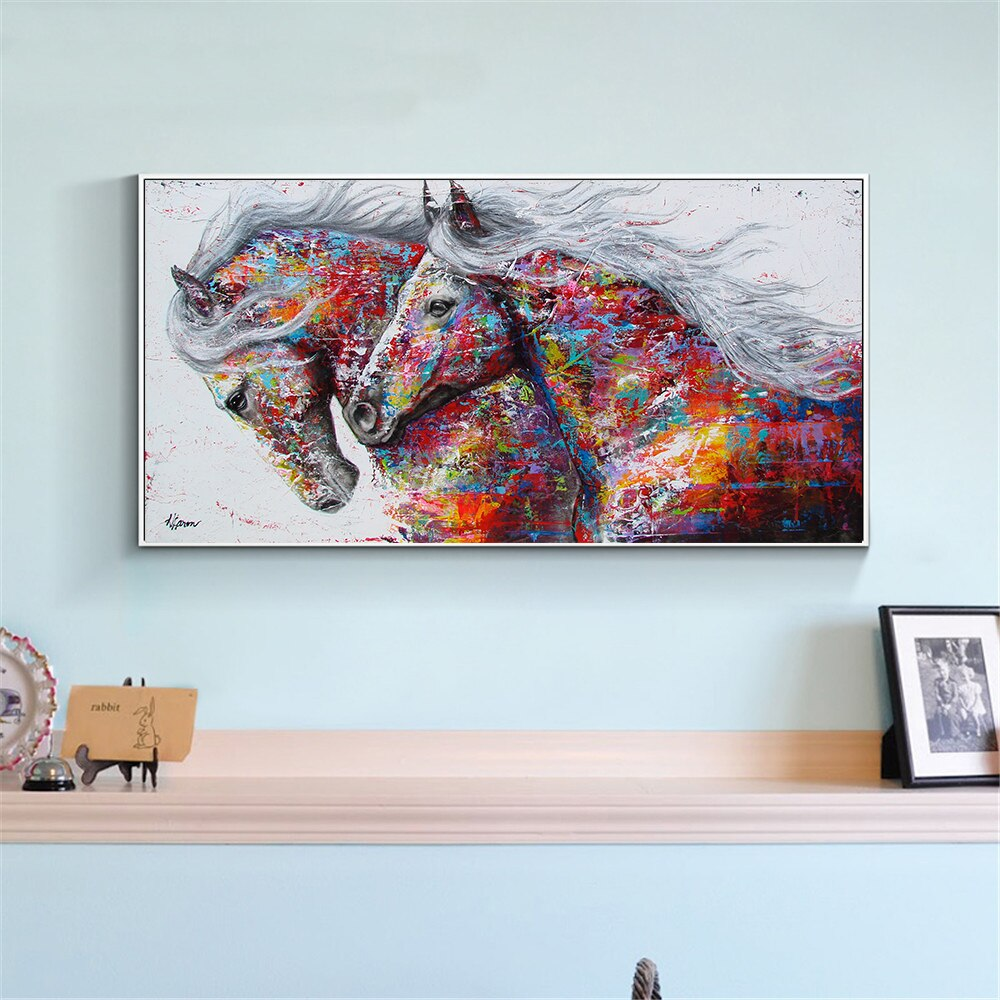 Abstract Oil Painting Large Size Canvas Horse Poster Prints Animal Wall Pictures for Living Room Home Decor Cuadros Decoracion