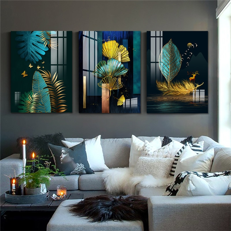3 Panels Cheap Canvas Art Painting Chinese Style Green and Gold Waterproof Wall Art Prints Home Decor Canvas Posters Prints