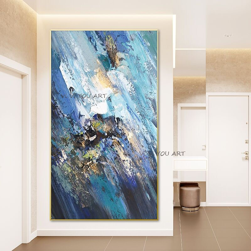 100% Hand Painted Abstract Oil Painting Wall Art Blue Colorful Modern On Canvas For Living Room Picture Minimalist Decorative